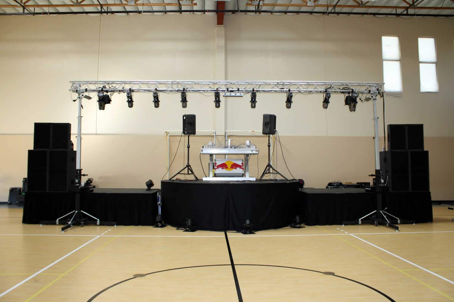 ROUND Stage (built by Eden USA) with Speaker Wings for Social Sunday VI